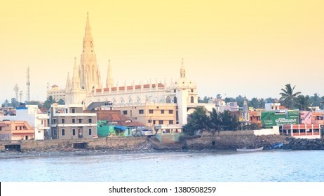 DEC 2018, TAMIL NADU, INDIA: Beautiful landscape view of church near Vivekananda Rock, Kanyakumari at the sea shore
