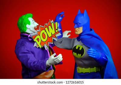DEC 27 2018: Batman action figure fighting the Joker, with POW effect - Mego Corp toys