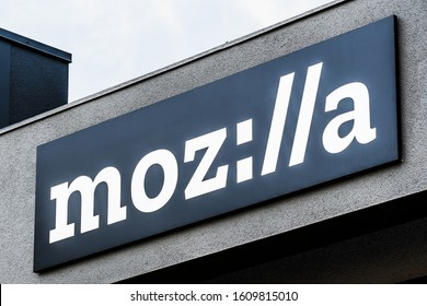 Dec 27, 2019 Mountain View / CA / USA - Close up of Mozilla stylized sign ( moz://a ) at their office building in Silicon Valley;  Mozilla is a free software community