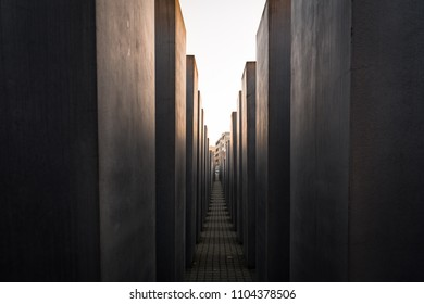 Dec 29, 2017 - Berlin Germany. The Memorial to the Murdered Jews of Europe. A view between the stelae.