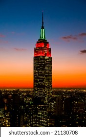 Dec 6, 2005 - New York City The Empire State Building illuminated with Christmas lighting for the Holiday season