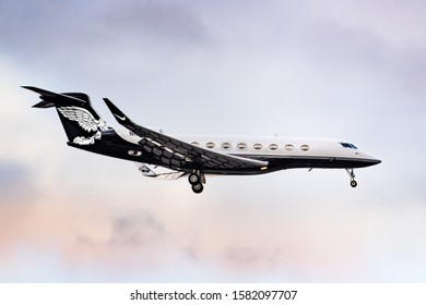 Dec 6, 2019 San Jose / CA / USA - N1KE Gulfstream 650 private airplane owned by Nike, Inc about to land in Silicon Valley