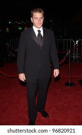 Dec 8, 2004; Los Angeles, CA: Actor MATT DAMON at the Hollywood premiere of his new movie Ocean's Twelve.