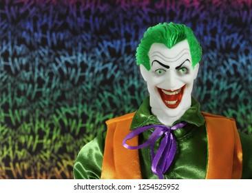 DEC 9 2018: DC Comic bad guy The Joker - Mego Action Figure