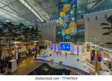 Dec 9,2017 Tourist watching new year event at Incheon Airport Terminal, Incheon , Korea