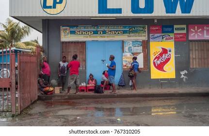Dec2017, Honiara, Solomon Islands,public betelnut stall on a Sunday where mostly men meet , chew betelnut and smoke cigarettes