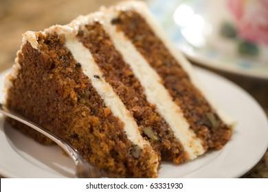 Decadent slice of carrot cake.
