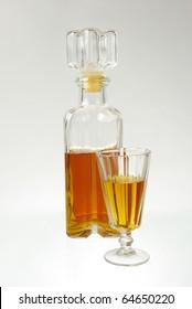 Decanter and glass. Hard liquors
