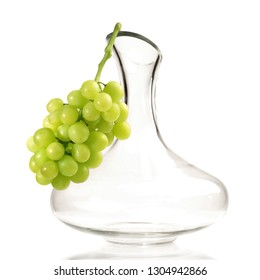 Decanter with Grapes on white Background