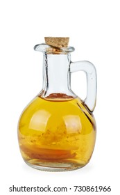 Decanter with old apple vinegar isolated on the white background
