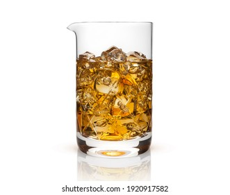decanter with whiskey and ice isolated on white background