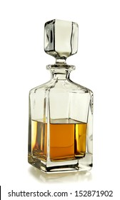 decanter with whiskey on white background