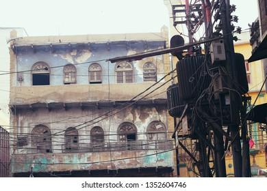 A decapitated building located in the Saddar area of Karachi, Pakistan