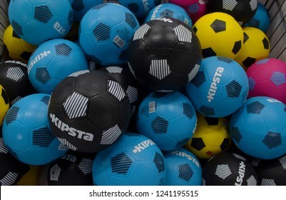 Decathlon, Howrah, India- Nov 25, 2018: Coloured Kipsta footballs are on sale at Decathlon or Quechua sports store.