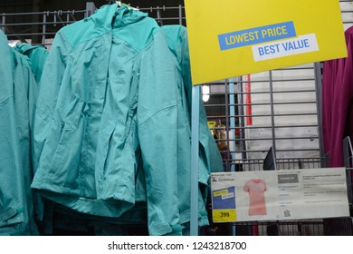 Decathlon, Howrah, India- Nov 25 2018: Decathlon S.A. is worlds largest  French sporting goods retailer. With over 1400 stores in 45 countries, Group also owns over 20 brands. Fleece, Jackets, caps