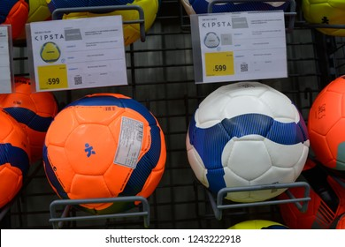 Decathlon, Howrah, India- Nov 25 2018: Decathlon S.A. is worlds largest  French sporting goods retailer. With over 1400 stores in 45 countries, Group also owns over 20 brands. Coloured Kipsta football