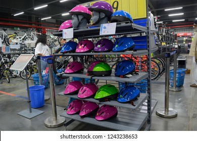 Decathlon, Howrah, India- Nov 25 2018: Decathlon S.A. is worlds largest  French sporting goods retailer. With over 1400 stores in 45 countries, Group also owns over 20 brands. Helmets for cyclist