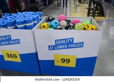 Decathlon, Howrah, India- Nov 25 2018: Decathlon S.A. is worlds largest  French sporting goods retailer. With over 1400 stores in 45 countries, Football and yoga mat at lower price.