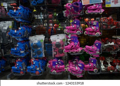 Decathlon, Howrah, India-Nov 25 2018: Decathlon is the worlds largest French sporting goods retailer in the world where you get all Sports Essentials. Pink and blue skating shoes are on display.