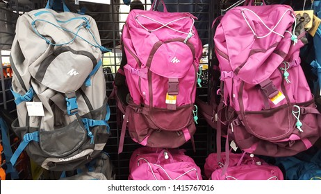 Decathlon, Salt Lake - 4.6.19: The coloured ruk sak or back pack are available in the decathlon shop for sell.