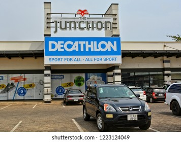 Decathlon store. French sporting goods retailer, the largest in the world. Shopping mall in Accra. Active style. Cars. Development of marketing in West Africa. Ghana, Accra – January 20, 2017