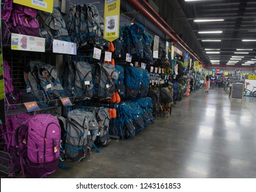 Decathlon, Uluberia, Howrah, India-Nov 25 2018: Decathlon is the worlds largest French sporting goods retailer in the world where you get all Sports and mountaineering  Essentials. Backpack available