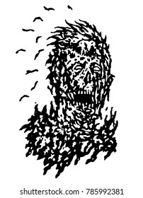decayed head of zombie