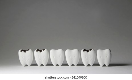 Decayed tooth model and some tooth start to decayed tooth