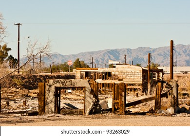 Decaying buildings at apocalyptic Bombay Beach at the Salton Sea