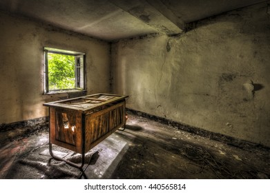 Decaying desk in an abandoned office