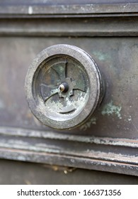 decaying door at Pere Lachaise Cemetery in paris narrow DOF