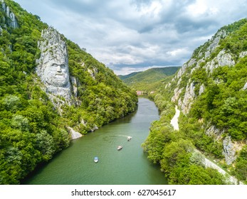 Decebal Head sculpted in rock, Danube Gorges (Cazanele Dunarii) , Romania. Aerial view.