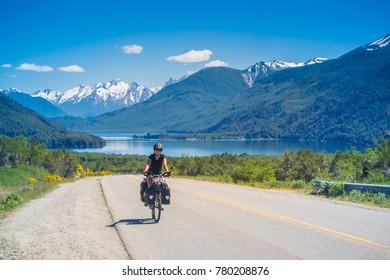 DECEMBER 01, 2017: Touring Bike at Patagonia Argentina.