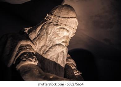 December 03, 2016: The Face of Holger Danske inside Kronborg castle, Denmark