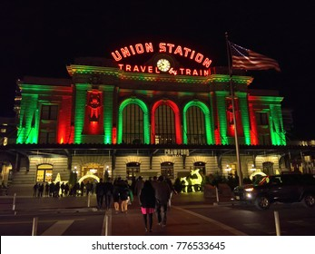 DECEMBER 09, 2017 - DENVER, CO: Union Station illuminated in traditional red and green Christmas holiday colors