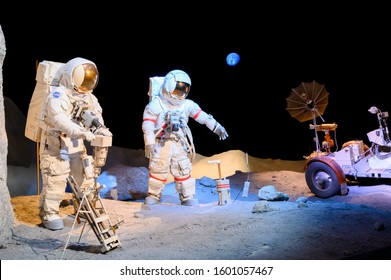 December 09, 2019 - Houston, Texas, USA: Apollo Astronauts models on the moon displayed at The Johnson NASA Space CenterSpace Center in Houston, TX