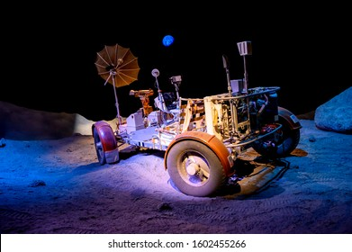 December 09, 2019 - Houston, Texas, USA: Lunar Roving Vehicle Trainer at Starship gallery located in The Lyndon B. Johnson Space Center (JSC) in Houston, Texas.