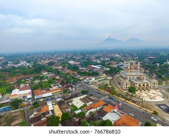 December 1, 2017 Klaten Indonesia: Panorama Aerial Al Aqsha Mosque in the morning