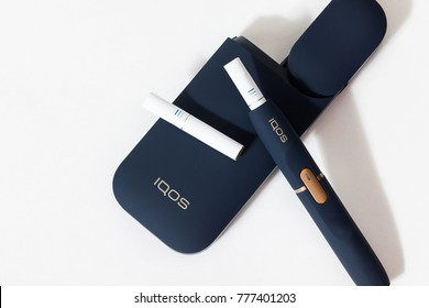 december 1, 2017, seoul in south republic korea, iqos electronic cigarette on white backgrounds, malboro and philip morris iqos which is described  as a hybrid cigartte between analog and elctronic