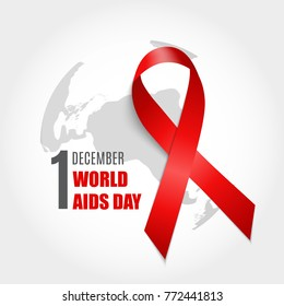 December 1 World AIDS Day Background. Red Ribbon Sign.  Illustration