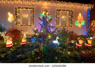 December 11, 2018 - A house in Hinnerup, Jutland, Denmark decorated with Christmas lights.