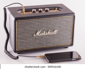 DECEMBER 12, 2015: Marshall amp linked to smartphone. Marshall Amplification is one of leading worldwide brand in sound amplification and musical instruments.