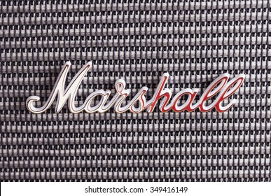 DECEMBER 12, 2015: Marshall Amplification logo over amp, close up. Marshall Amplification is one of leading worldwide brand in sound amplification and musical instruments.