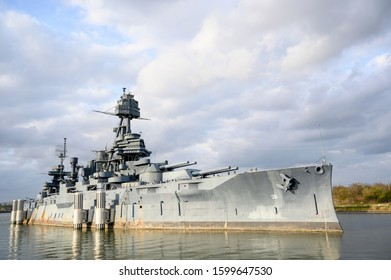 December 12, 2019 - La Porte, TX, USA: Battleship Texas docked along the Houston Ship Channel. She took part in some of the most significant naval battles of the 20th century during both world wars.