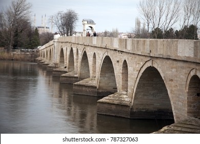 DECEMBER 12,2010 EDIRNE TURKEY.The Meric Bridge on Meric River .Meric Bridge built by architect Sinan in 1570, Edirne Turkey