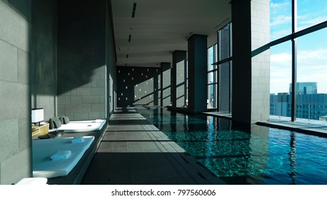 DECEMBER 12,2017- Image of the spa interiors in Aman Tokyo,Japan.