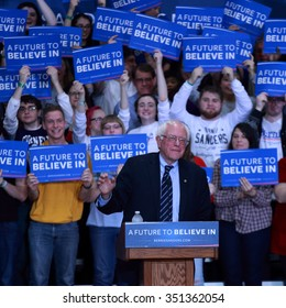 DECEMBER 13, 2015, MT VERNON, IA Bernie Sanders speaks to crowd at Cornell College, Mount Vernon, Iowa