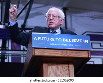 DECEMBER 13, 2015-MOUNT VERNON, IOWA Bernie Sanders speaks at rally at Cornell College