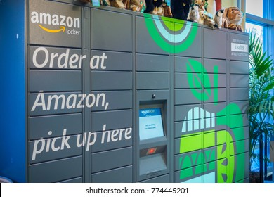 December 13, 2017 Los Altos / CA / USA - Amazon locker located inside Whole Foods in San Francisco bay area