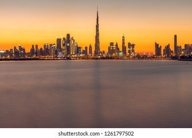 December 13th, Dubai UAE, A view of the Iconic Dubai Skyline from Dubai Creek